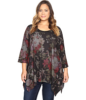 Nally & Millie - Plus Size Floral Printed Sharkbite Tunic