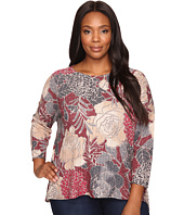 Nally & Millie - Plus Size Burgundy Floral Printed Top