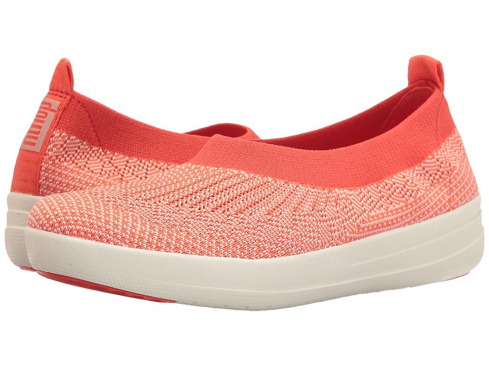 FitFlop Uberknit Ballerina (Hot Coral/Neon Blush) Women
