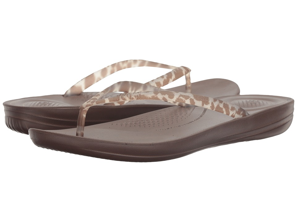 FitFlop Iqushion Ergonomic Flip-Flop (Chocolate Leopard) Women