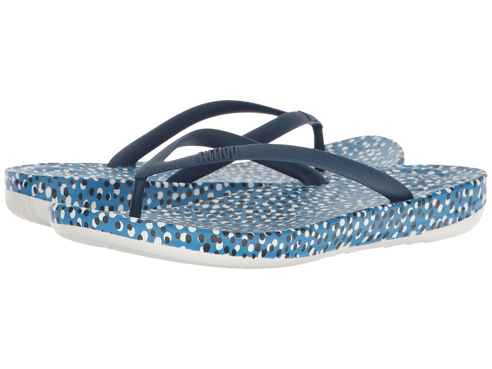 FitFlop Iqushion Ergonomic Bubbles Flip-Flop (Bright Blue Bubbles) Women