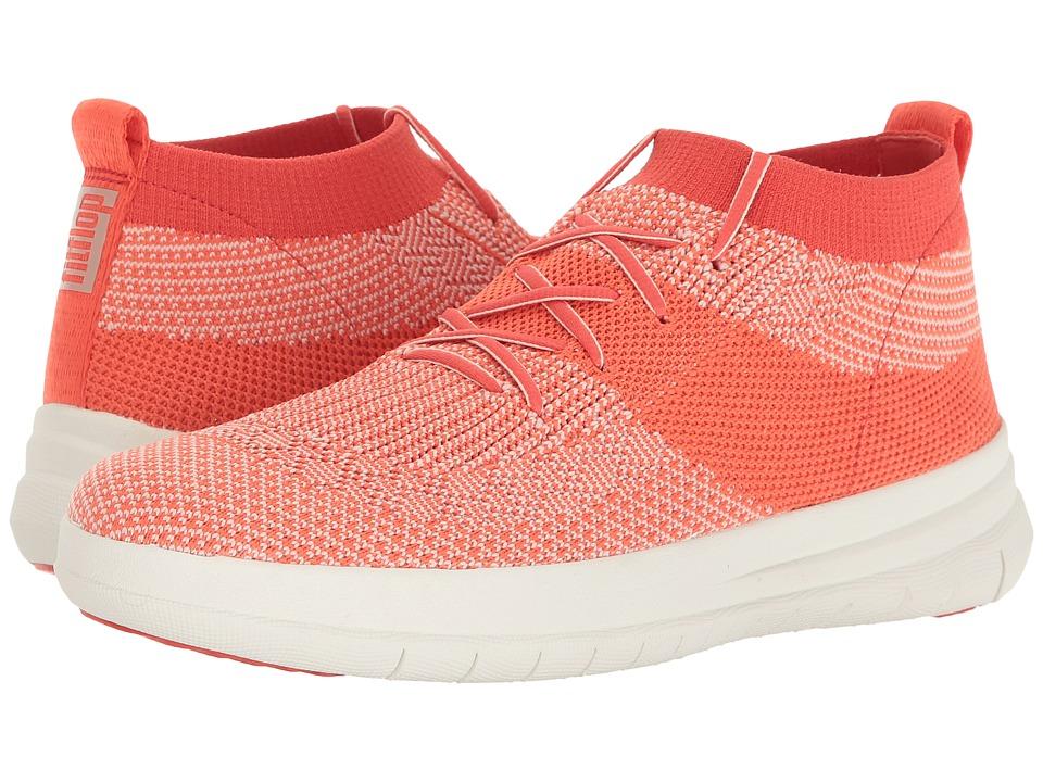 FitFlop Uberknit Slip-On High-Top Sneaker (Hot Coral/Neon Blush) Women