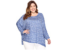 Nally & Millie - Plus Size Blue/White Dot Print Poncho