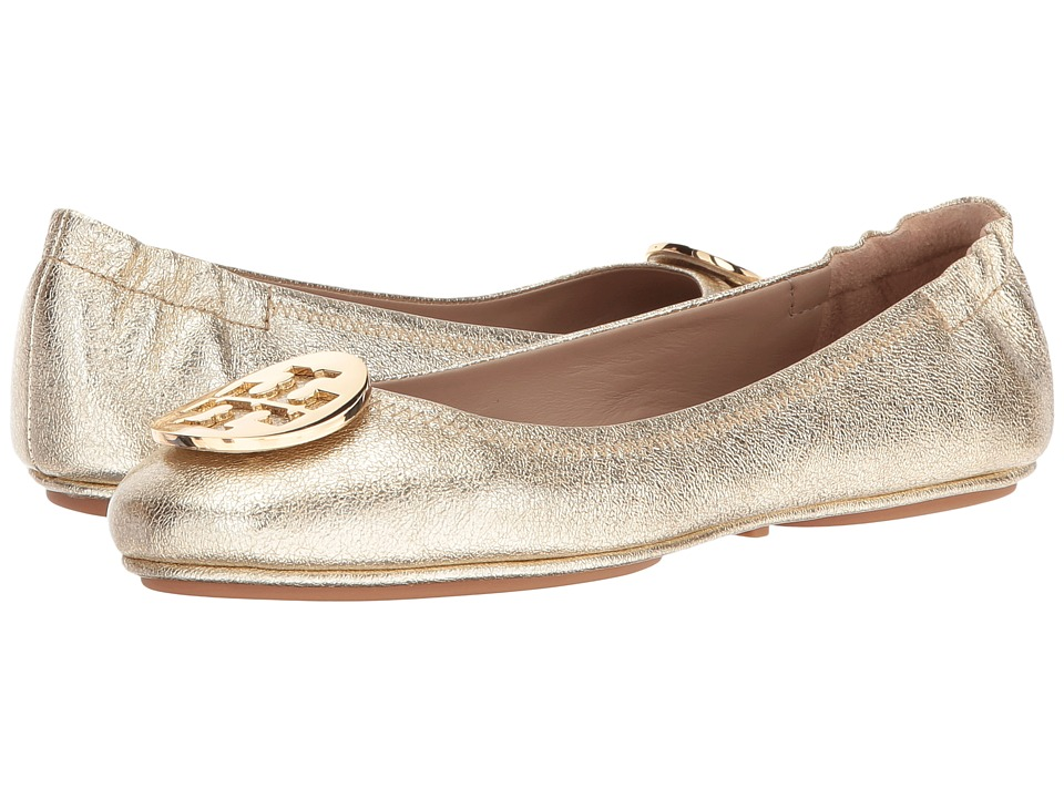 Tory Burch Minnie Travel Ballet Flat (Spark Gold) Women's Shoes