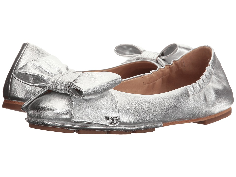Tory Burch Divine Bow Driver Ballet (Silver) Women