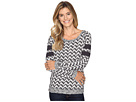 Long Sleeve Patterned French Terry Pullover