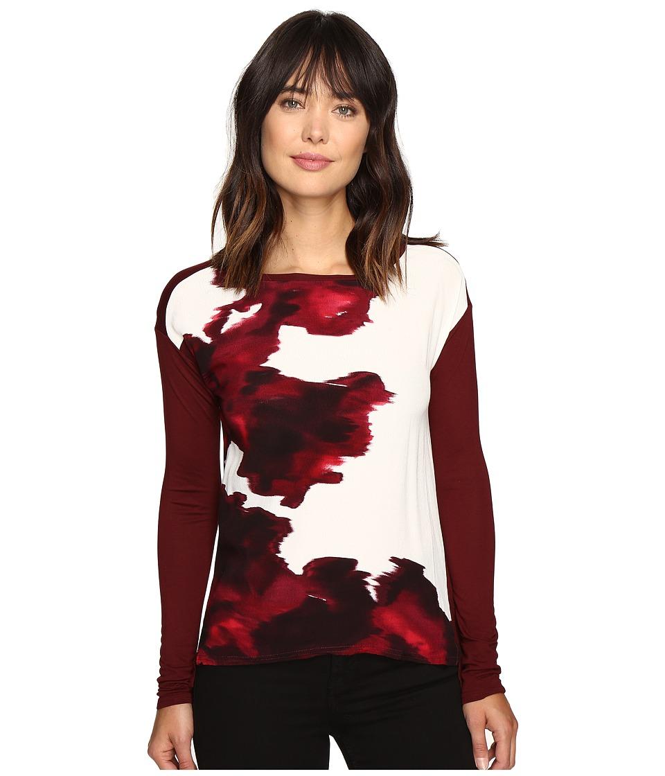Calvin Klein Jeans Printed Front Long Sleeve Tee (Charmenere) Women