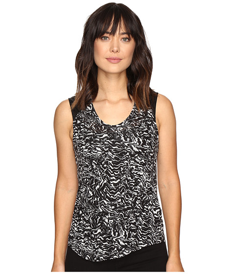 Calvin Klein Jeans Printed Lace Pieced Sleeveless Knit Shirt - Black