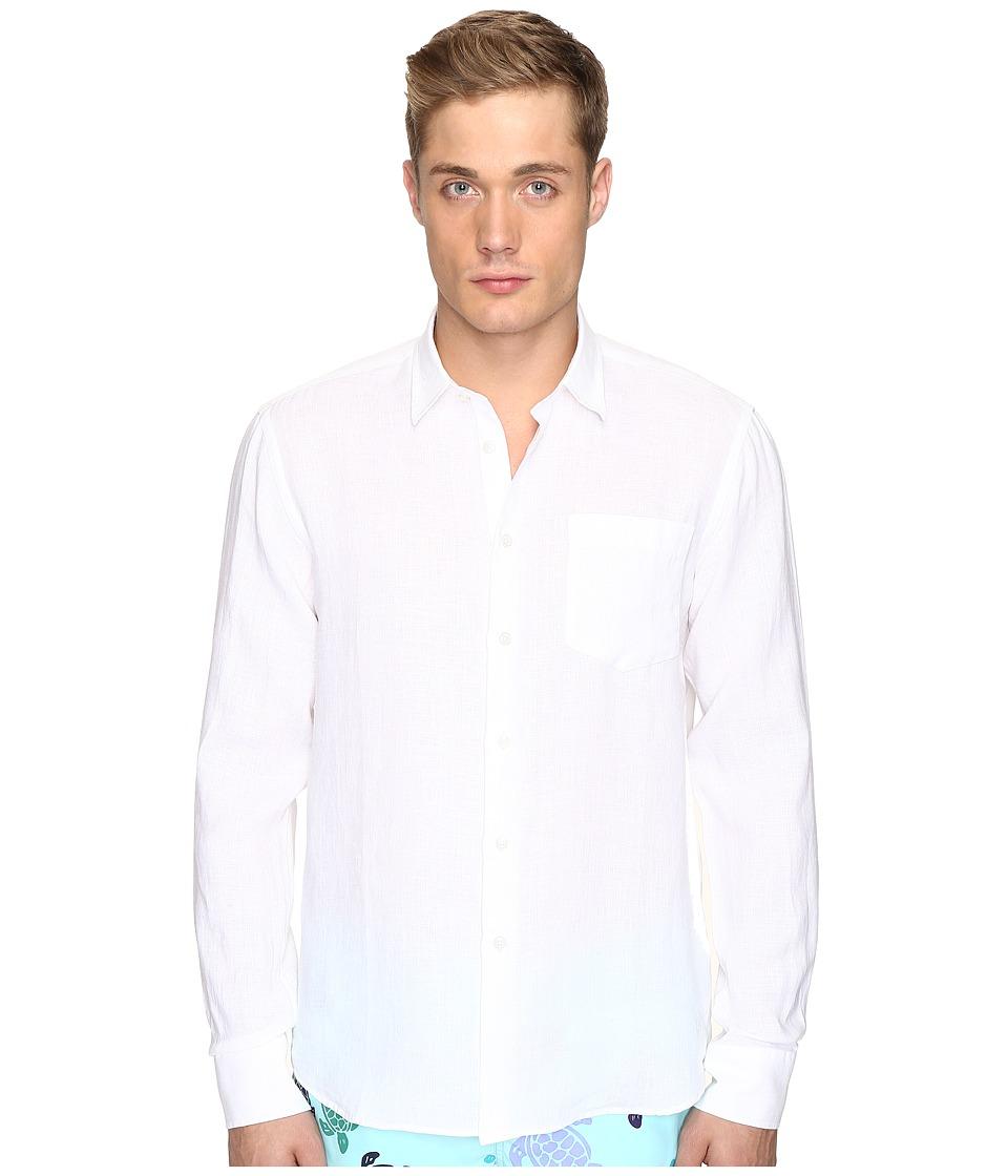 Vilebrequin Linen Long Sleeve Button Up (White) Men