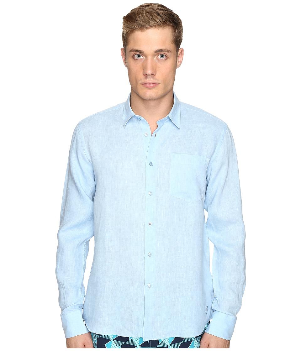 Vilebrequin Linen Long Sleeve Button Up (Light Blue) Men