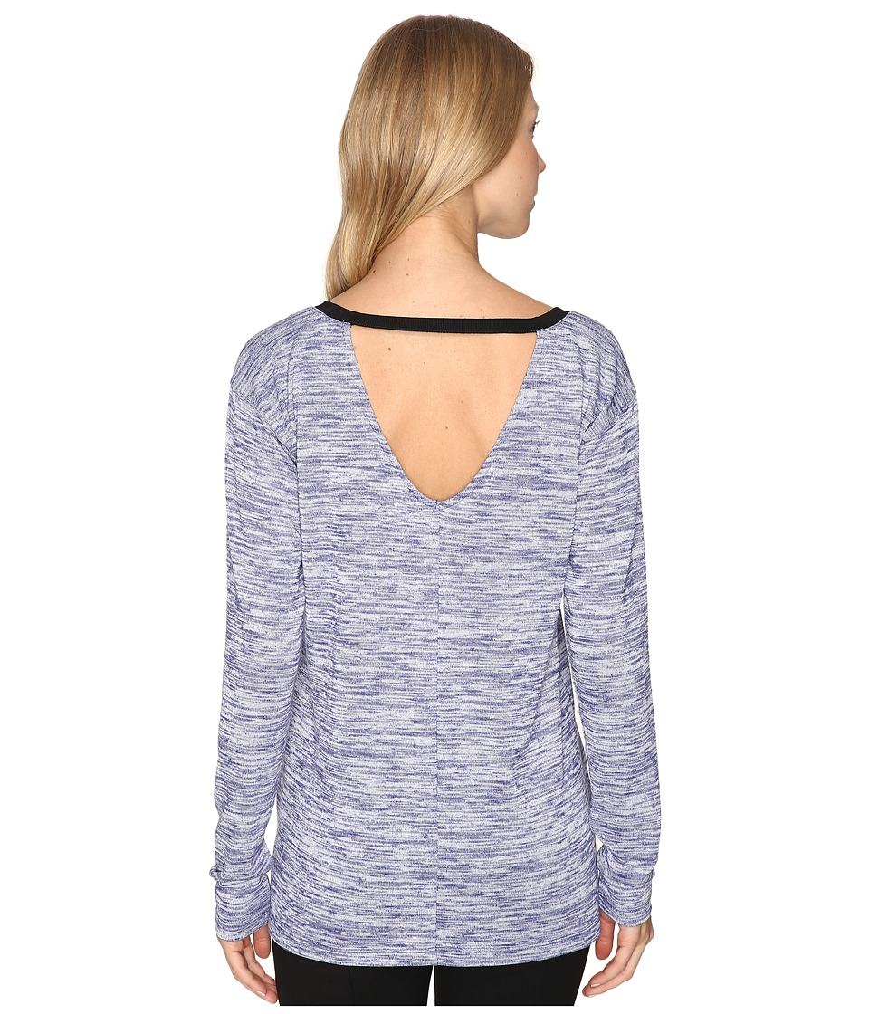 Calvin Klein Jeans Marl Long Sleeve V-Back Tee (Blueberry Dust) Women
