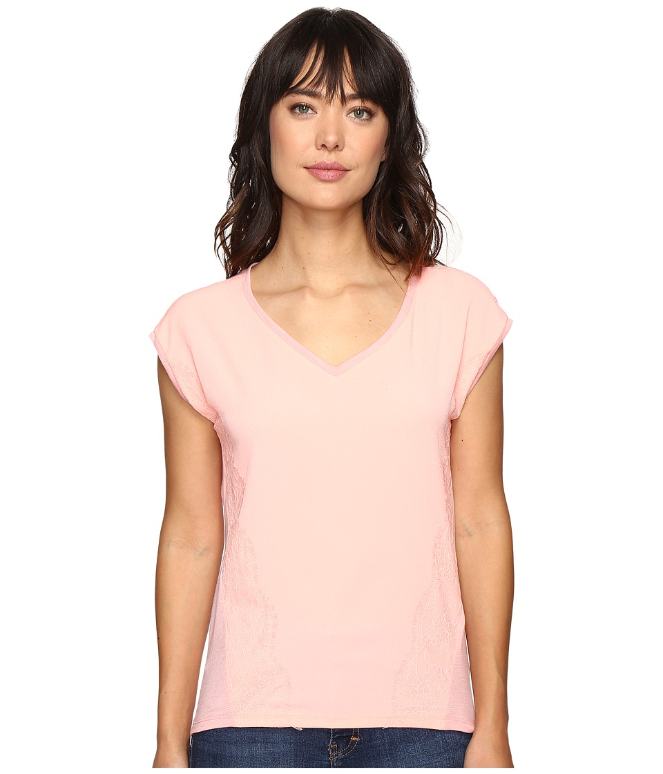 Calvin Klein Jeans Trend Table V-Neck T-Shirt (Pucker Pink) Women