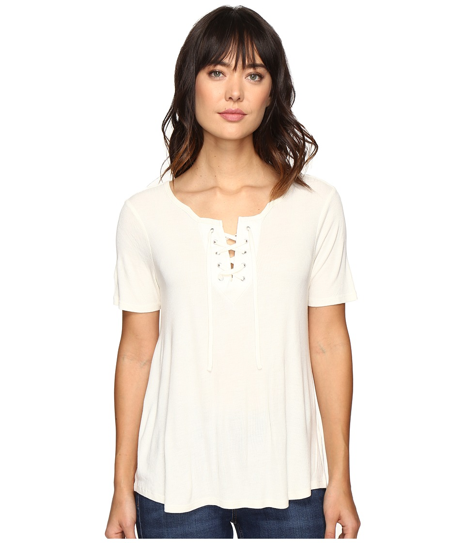 Calvin Klein Jeans Laced-Up Short Sleeve Tee (Marshmallow) Women