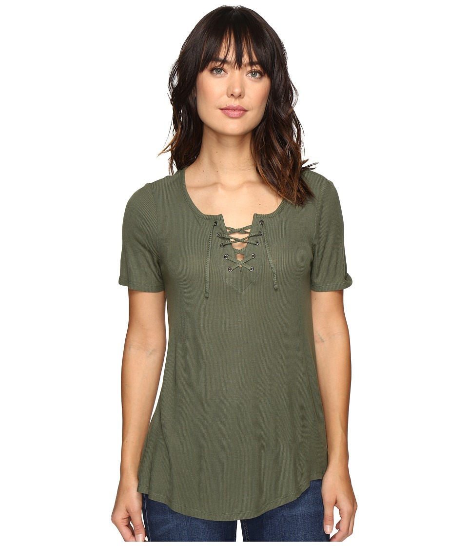 Calvin Klein Jeans Laced-Up Short Sleeve Tee (Veiled Fern) Women