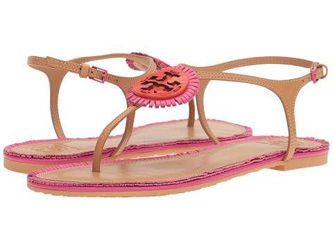Tory Burch Miller Fringe Flat Sandal - Dusty Cypress/Hibiscus