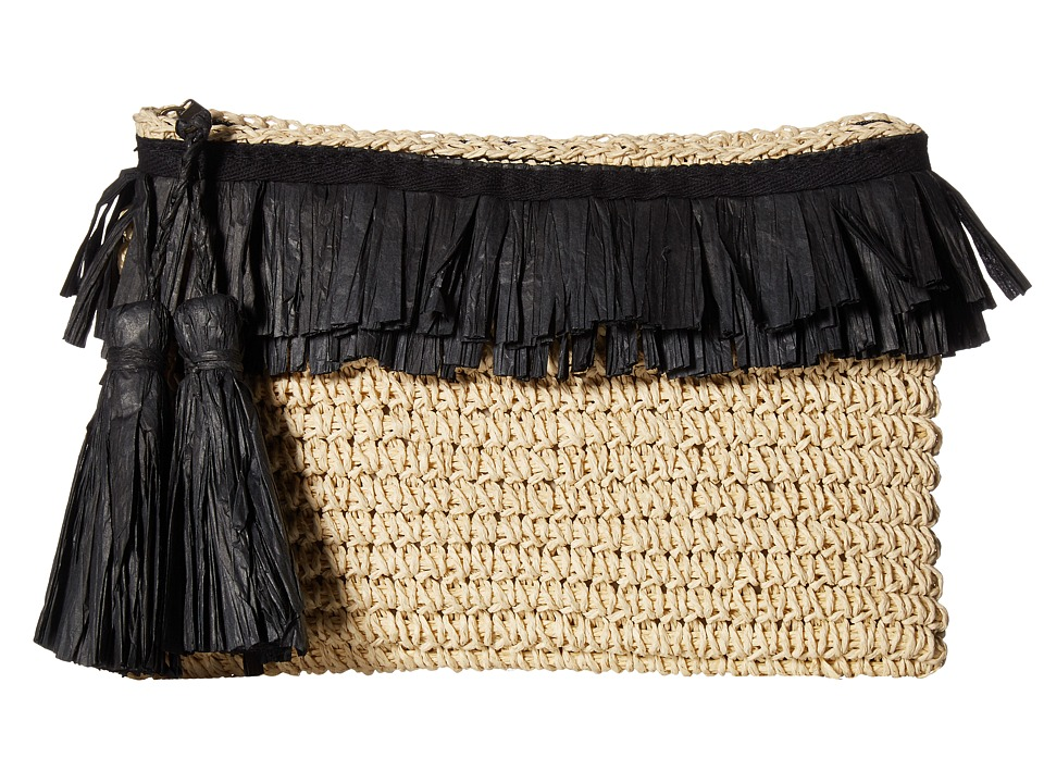 San Diego Hat Company BSB1712 Paper Crochet Clutch with Two Row Frayed Paper Opening (Natural/Black) Clutch Handbags