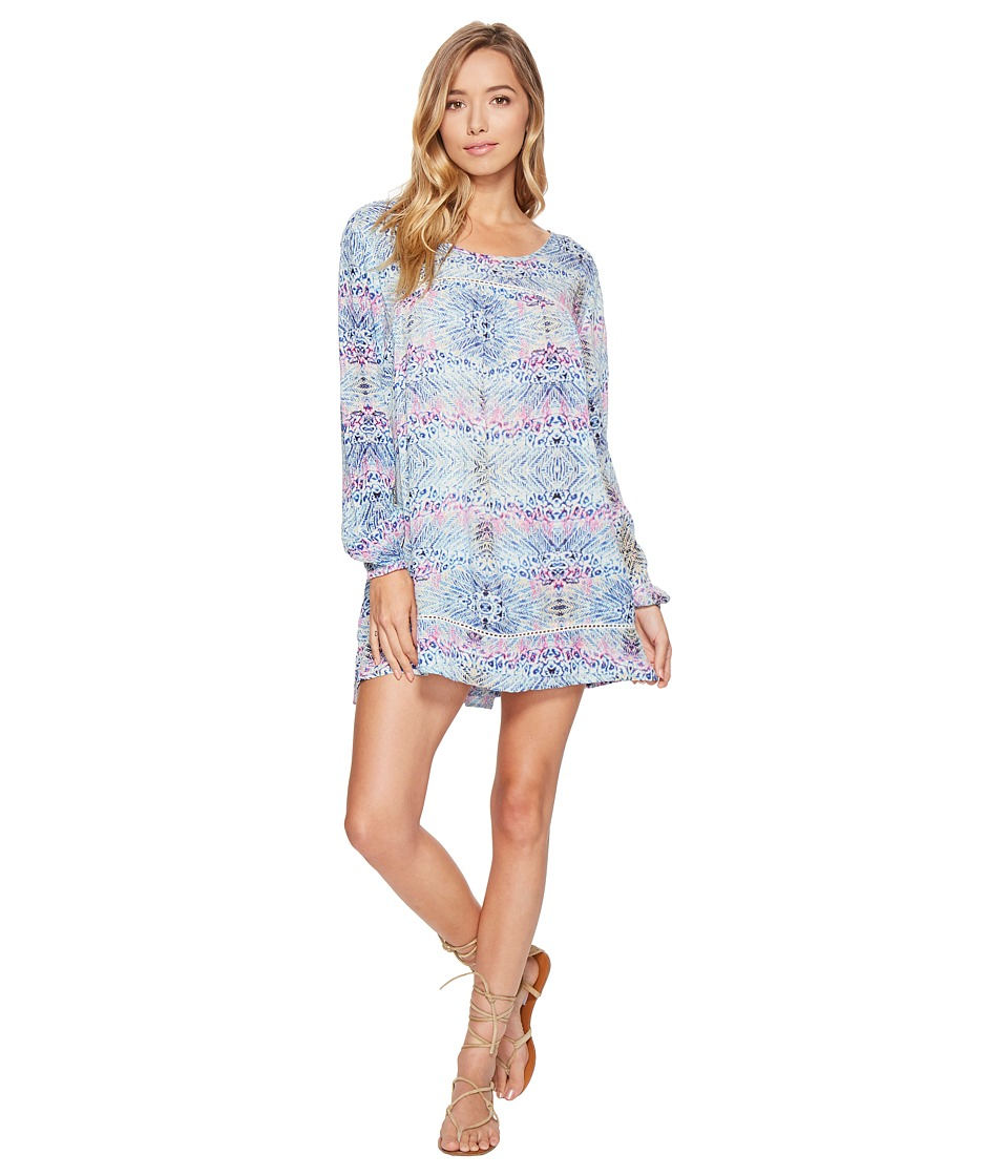 Roxy Sneak Peak Long Sleeve Cover-Up (Marshmallow Labana Aguila) Women
