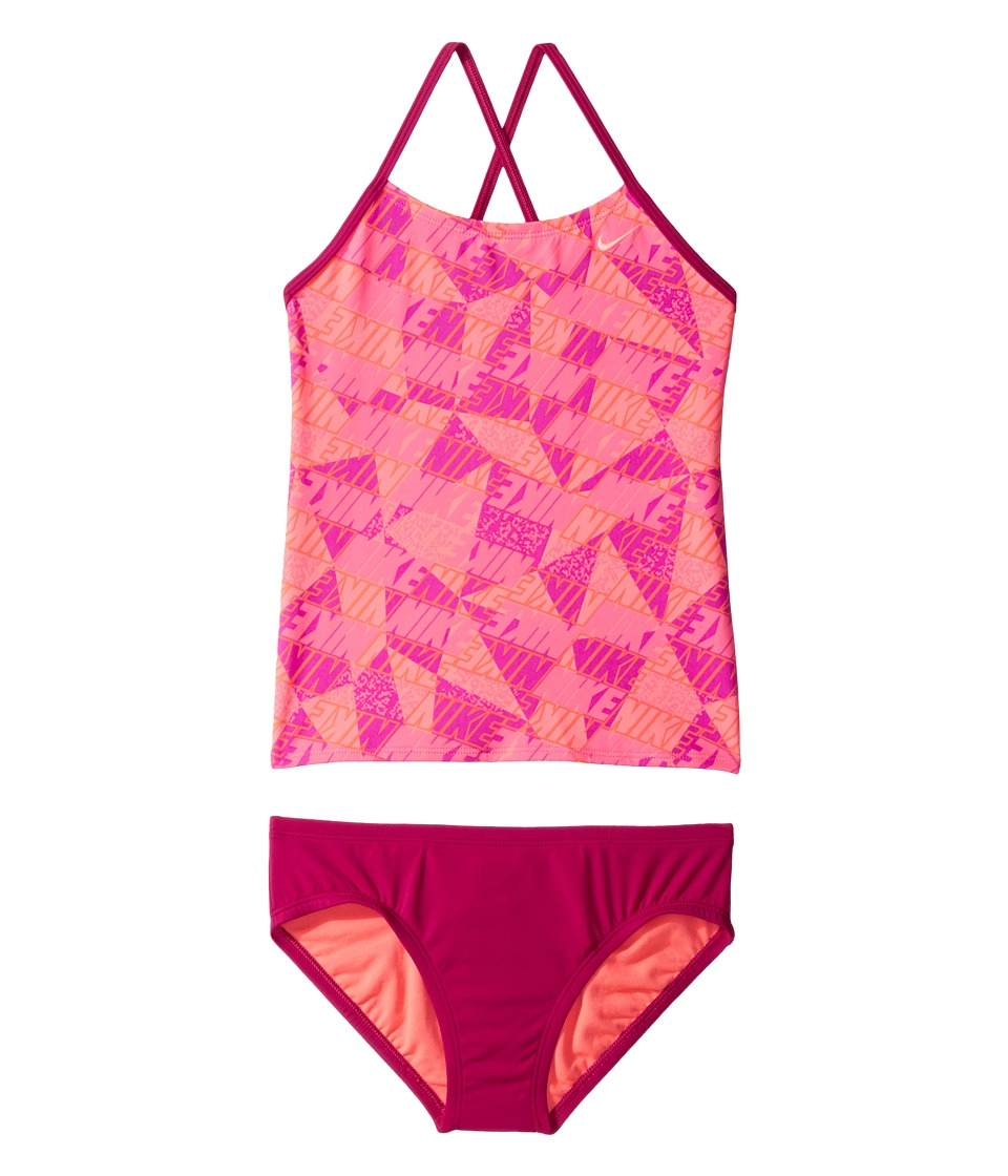 Nike Kids Graphic Crossback Tankini (Big Kids) (Sport Fuchsia) Girl