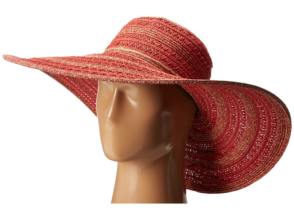 San Diego Hat Company - UBL6489 Round Crown Stripe Ultrabraid Floppy Hat (Red) Traditional Hats