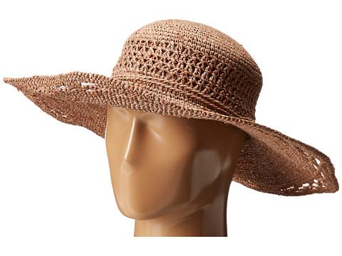 San Diego Hat Company RHM6006 Crochet Raffia Oval Crown Sun Brim Hat - Nougat