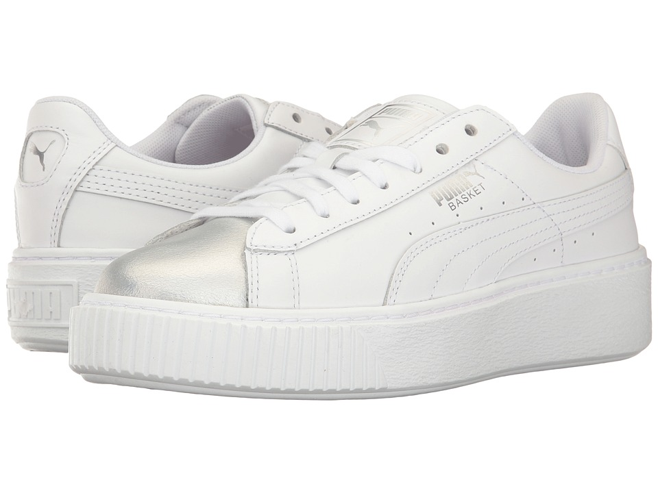 PUMA Basket Platform Iridescent (Puma White/Bluefish) Women