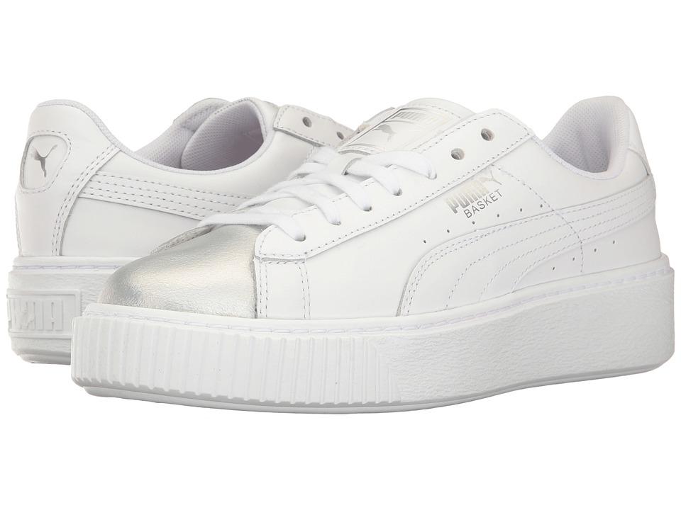 PUMA - Basket Platform Iridescent (Puma White/Bluefish) Womens Shoes