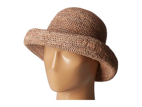 San Diego Hat Company RHM6005 Crochet Raffia Pinched Crown Fedora Hat - Nougat