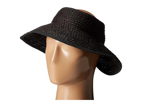 San Diego Hat Company RHV1505 Raffia Roll Up Visor with Velcro Closure - Black