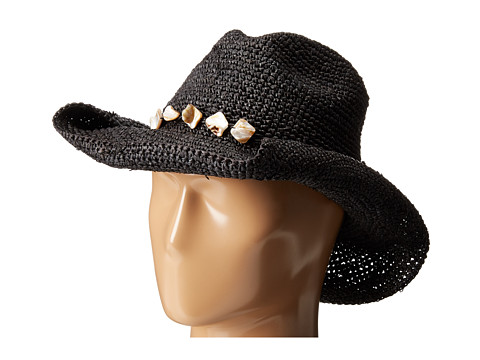 San Diego Hat Company RHC1080 Crochet Raffia Hat with Beaded Trim - Black