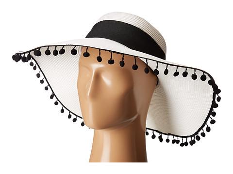 San Diego Hat Company UBL6486 Ultrabraid Sun Brim Hat with Pom Poms - White/Black