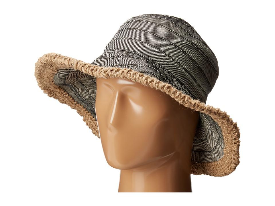 San Diego Hat Company - RBM5563 Bucket Ribbon Hat with Crochet Hemp Edging (Black) Traditional Hats