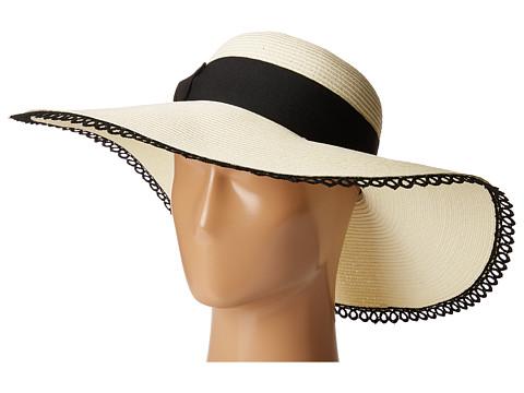 San Diego Hat Company UBL6485 Ultrabraid Sun Brim Hat with Lace Trim - Ivory