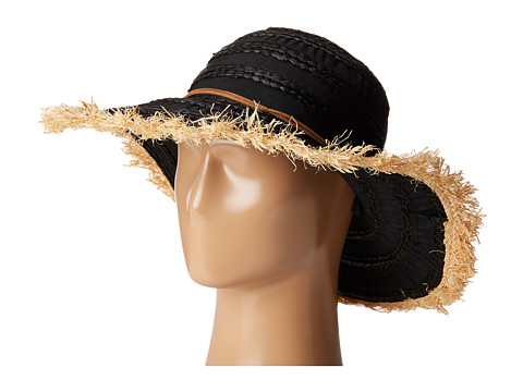 San Diego Hat Company RBL4789 Ribbon Hat with Raffia Sun Brim Frayed Edge - Black