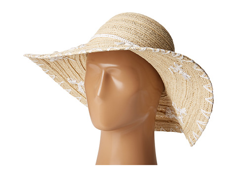 San Diego Hat Company PBL3075 Floppy Paper Braid Hat with Shells - Natural