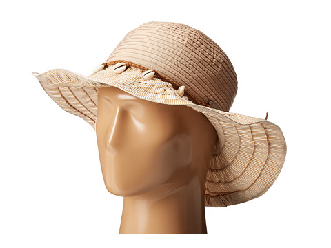 San Diego Hat Company RBL4786 Ribbon Hat with Shell Trim and Wired Edge - Natural