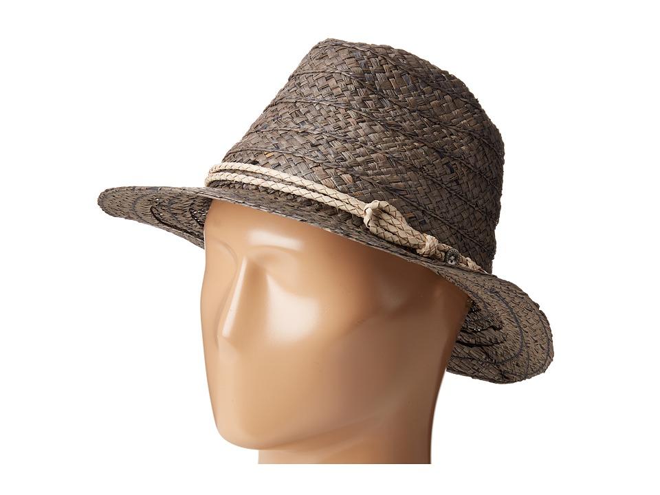 San Diego Hat Company - RHF6121 2 Brim Raffia Fedora Hat (Grey) Fedora Hats