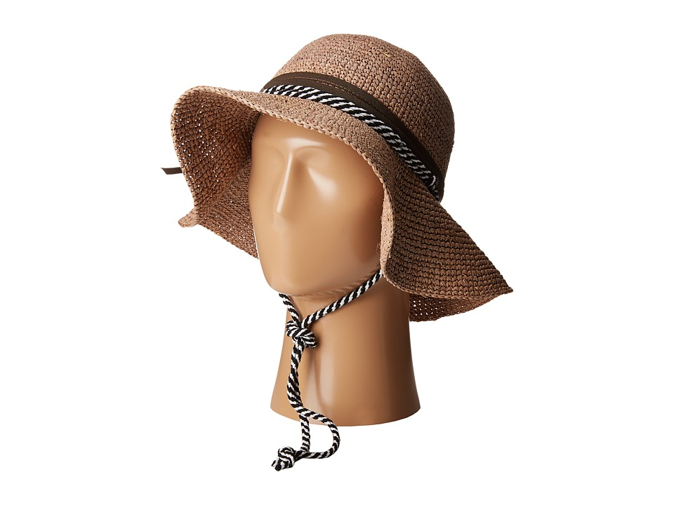 San Diego Hat Company - RHM6008 Crochet Raffia Striped Chin Hat (Coffee) Traditional Hats