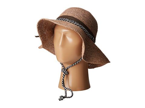 San Diego Hat Company RHM6008 Crochet Raffia Striped Chin Hat - Coffee