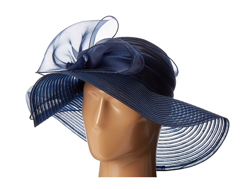 San Diego Hat Company - DRS1010 Derby Round Crown Hat with Organza Oversized Bow (Navy) Traditional Hats