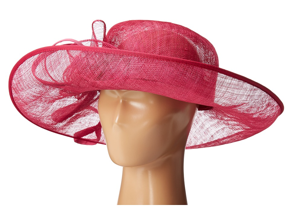 San Diego Hat Company - DRS1012 Derby Asymmetrical Wide Brim Sinamay Hat (Fuchsia) Traditional Hats