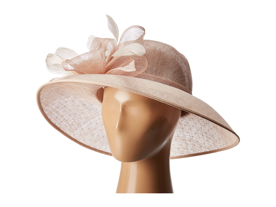 San Diego Hat Company - DRS1013 Derby Sinamay Dress Hat with Flocked Dot Brim (Blush) Traditional Hats