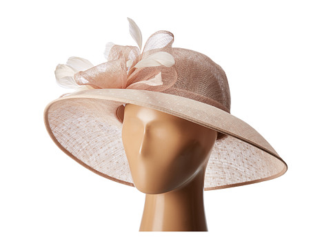 San Diego Hat Company DRS1013 Derby Sinamay Dress Hat with Flocked Dot Brim - Blush