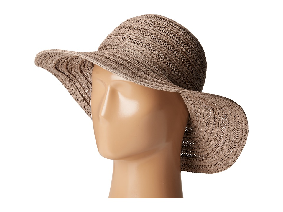 San Diego Hat Company - PBL3078 Four Buttons Paper Braid Floppy Hat with Self Knotted Tie (Grey) Traditional Hats