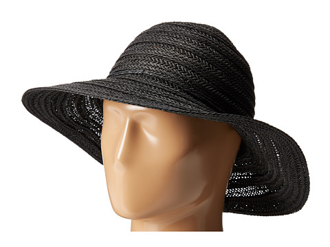 San Diego Hat Company PBL3078 Four Buttons Paper Braid Floppy Hat with Self Knotted Tie - Black