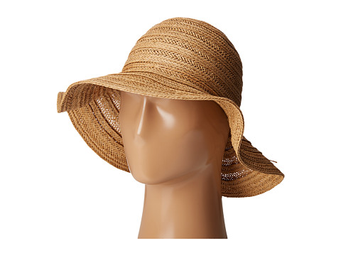 San Diego Hat Company PBL3078 Four Buttons Paper Braid Floppy Hat with Self Knotted Tie - Natural