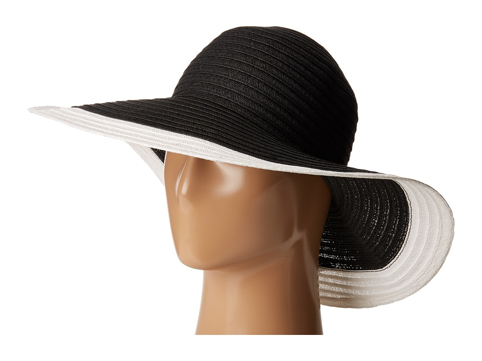 San Diego Hat Company - UBL6491 Four Buttons Floppy Color Block Hat (Black/White) Traditional Hats