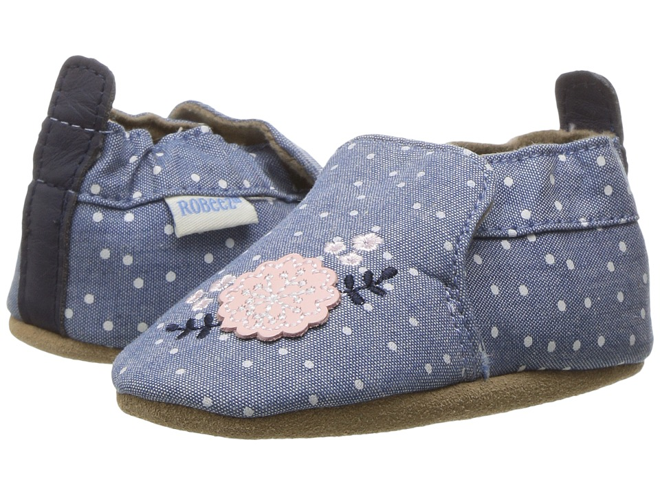 Robeez Chambray Bouquet Soft Sole (Infant/Toddler) (Chambray) Girl's Shoes