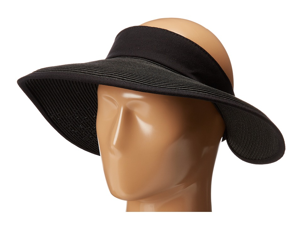 San Diego Hat Company - PBV010 Four Buttons Visor with Elastic Closure (Black/Natural) Casual Visor