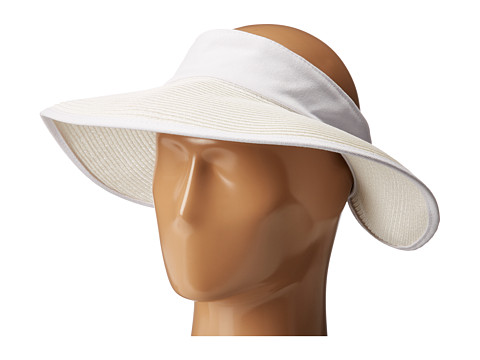 San Diego Hat Company PBV010 Four Buttons Visor with Elastic Closure - White/Navy