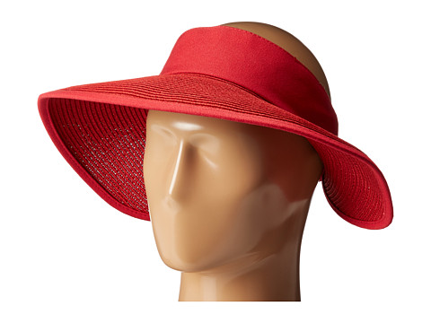 San Diego Hat Company PBV010 Four Buttons Visor with Elastic Closure - Red